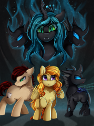 Size: 2595x3472 | Tagged: safe, artist:pridark, queen chrysalis, oc, oc:fine roast, oc:sweet leaf, changeling, earth pony, pegasus, fanfic:unchanging love, changeling oc, commission, cutie mark, fanfic, fanfic art, fanfic cover, high res, raised hoof, swarm