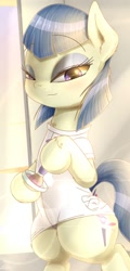 Size: 540x1128 | Tagged: safe, artist:phoenixrk49, powder rouge, earth pony, pony, clothes, digital art, ear fluff, female, leg fluff, looking at you, mare, neck fluff, solo