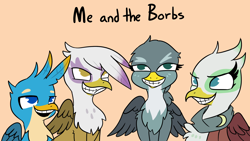 Size: 2190x1232   Tagged: safe, artist:tjpones, gabby, gallus, gilda, greta, griffon, birb, borb, clothes, faic, female, male, me and the boys, meme, open mouth, ponified meme, scarf, simple background, smiling, teeth, text