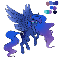 Size: 500x500 | Tagged: safe, artist:brendalobinha, princess luna, alicorn, pony, crown, eyeshadow, female, flying, jewelry, looking at you, makeup, mare, palette, reference sheet, regalia, simple background, solo, transparent background, wavy mane, wings