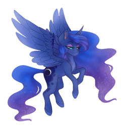 Size: 500x500 | Tagged: safe, alternate version, artist:brendalobinha, princess luna, alicorn, pony, crown, eyeshadow, female, flying, jewelry, looking at you, makeup, mare, regalia, simple background, solo, transparent background, wavy mane, wings