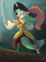 Size: 1417x1890 | Tagged: safe, artist:lumepone, captain celaeno, bird, parrot, my little pony: the movie, clothes, female, hat, pirate, pirate hat, solo, sword, weapon
