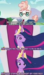 Size: 1280x2160 | Tagged: safe, edit, edited screencap, editor:jaredking203, screencap, svengallop, twilight sparkle, alicorn, earth pony, pony, the last problem, the mane attraction, caption, crown, duo, female, image macro, jewelry, male, mare, meme, older, older twilight, older twilight sparkle (alicorn), princess twilight 2.0, regalia, stallion, text, twilight sparkle (alicorn)