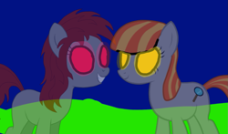 Size: 1289x757 | Tagged: artist needed, safe, oc, oc only, oc:mitta, oc:ruby, earth pony, ghost, ghost pony, pony, story of the blanks, duo, female, glowing eyes, mare, night, red eyes, smiling, yellow eyes
