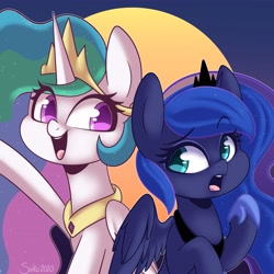 Size: 4096x4095 | Tagged: safe, artist:sakukitty, princess celestia, princess luna, alicorn, pony, absurd resolution, crown, cute, cutelestia, duo, female, flowing mane, hoof shoes, jewelry, looking at each other, lunabetes, mare, open mouth, peytral, regalia, royal sisters, siblings, sisters, smiling