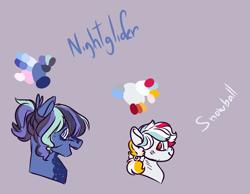 Size: 1629x1265 | Tagged: safe, artist:kiwigoat-art, oc, oc:nightglider, oc:snowball, pegasus, offspring, parent:dumbbell, parent:rainbow dash, parents:dumbdash