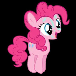 Size: 420x420 | Tagged: safe, pinkie pie, earth pony, pony, cute, diapinkes, female, filly, filly pinkie pie, jumping, magical unicorn mayonnaise, mare, not a vector, smiling, solo, younger