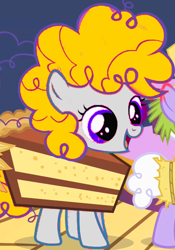 Size: 420x600 | Tagged: safe, edit, edited screencap, screencap, surprise, pegasus, pony, the cutie mark chronicles, cake, cropped, cute, female, filly, food, g1, g1 to g4, generation leap, recolor, smiling