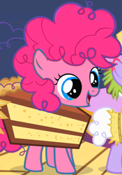 Size: 420x600 | Tagged: safe, edit, edited screencap, screencap, pinkie pie, earth pony, pony, the cutie mark chronicles, cake, clothes, costume, cropped, female, filly, food, food costume, recolor, smiling, solo focus
