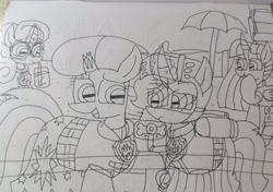 Size: 3368x2372 | Tagged: safe, artist:徐詩珮, fizzlepop berrytwist, glitter drops, spring rain, tempest shadow, twilight sparkle, alicorn, unicorn, series:sprglitemplight diary, series:sprglitemplight life jacket days, series:springshadowdrops diary, series:springshadowdrops life jacket days, alternate universe, bisexual, broken horn, chase (paw patrol), clothes, cute, female, glitterbetes, glitterlight, glittershadow, horn, lesbian, lifeguard, lifeguard spring rain, lifejacket, marshall (paw patrol), paw patrol, polyamory, shipping, skye (paw patrol), sprglitemplight, spring rain is not amused, springbetes, springdrops, springlight, springshadow, springshadowdrops, tempestbetes, tempestlight, twilight sparkle (alicorn), unamused, zuma (paw patrol)