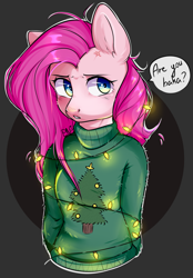 Size: 1741x2500 | Tagged: safe, artist:pledus, pinkie pie, anthro, earth pony, abstract background, baka, bondage, christmas, christmas lights, clothes, cross-popping veins, dialogue, female, holiday, pinkamena diane pie, suspended, sweater, tsundemena pie, tsundere