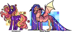 Size: 1280x578 | Tagged: safe, artist:spuds-mcfrenzy, oc, oc:fever dream, oc:honeymoon, hybrid, pony, unicorn, female, interspecies offspring, mare, offspring, parent:discord, parent:princess cadance, parent:princess luna, parent:shining armor, parents:lunacord, parents:shiningcadance, simple background, transparent background