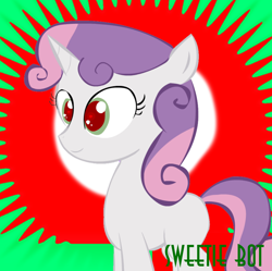 Size: 1024x1021 | Tagged: safe, sweetie belle, pony, robot, robot pony, unicorn, derpibooru, friendship is witchcraft, female, filly, green eyes, meta, red eyes, spoilered image joke, sweetie bot, text