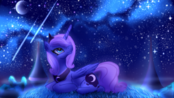 Size: 2560x1440 | Tagged: safe, artist:daryaberry, princess luna, alicorn, pony, cute, female, grass, lunabetes, mare, moon, night, peytral, ponyloaf, prone, s1 luna, shooting star, sky, smiling, solo, starry night, stars