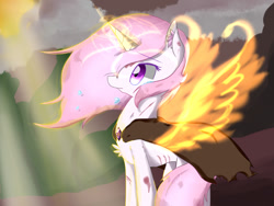 Size: 1024x768 | Tagged: safe, artist:inaba_hitomi, princess celestia, unicorn, cape, clothes, fiery wings, glowing horn, horn, pink-mane celestia, race swap, scuff mark, solo, unicorn celestia, wings, young celestia