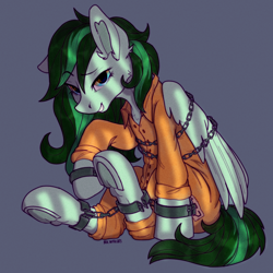 Size: 2000x2000 | Tagged: safe, artist:kotya, oc, oc:eden shallowleaf, pegasus, pony, bound wings, chains, clothes, cuffs, looking at you, prison bars, prison outfit, prisoner, shackles, simple background, sitting, smiling, smiling at you, solo, uniform, wings
