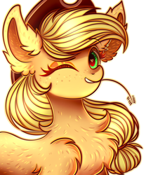 Size: 2500x3000   Tagged: safe, artist:mite-lime, applejack, earth pony, pony, bust, chest fluff, cute, ear fluff, heart eyes, high res, jackabetes, leg fluff, looking at you, one eye closed, portrait, smiling, straw in mouth, wingding eyes, wink