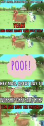 Size: 705x2012 | Tagged: safe, artist:undeadponysoldier, big macintosh, shining armor, earth pony, pony, unicorn, 3d, abracatastrophe, cap, caption, comic, comic sans, food, funny, gmod, hat, hot dog, hot dog stand, image macro, implied queen chrysalis, male, meat, meme, parody, poof, poof!, reference, sausage, stallion, text, the fairly oddparents