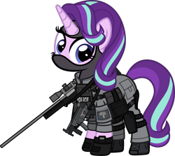 Size: 6000x5354 | Tagged: safe, artist:n0kkun, starlight glimmer, pony, unicorn, accuracy international, armor, awm, balaclava, belt, boots, british, clothes, earpiece, female, gloves, gun, knee pads, mare, mp5, mp5k, pants, police, pouch, rifle, sco19, shoes, simple background, sniper, sniper rifle, solo, submachinegun, transparent background, united kingdom, watch, weapon, wristwatch