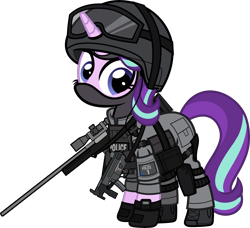 Size: 6000x5475 | Tagged: safe, alternate version, artist:n0kkun, starlight glimmer, pony, unicorn, accuracy international, armor, awm, balaclava, belt, boots, british, clothes, earpiece, female, gloves, goggles, gun, helmet, knee pads, mare, mp5, mp5k, pants, police, pouch, rifle, sco19, shoes, simple background, sniper, sniper rifle, solo, submachinegun, transparent background, united kingdom, watch, weapon, wristwatch