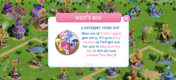 Size: 2436x1125 | Tagged: safe, idw, applejack, pinkie pie, trixie, twilight sparkle, earth pony, pony, unicorn, spoiler:comic, female, filly, filly applejack, filly pinkie pie, filly twilight sparkle, game screencap, gameloft, mare, ponyville, tree, unicorn twilight, younger