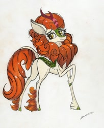 Size: 1280x1565 | Tagged: safe, artist:luxiwind, autumn blaze, kirin, cute, female, high res, smiling, solo, traditional art