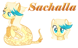 Size: 2684x1644 | Tagged: safe, artist:kannakiller, oc, oc only, oc:sachalla, original species, pony, snake, snake pony, bedroom eyes, bracer, ear piercing, earring, female, jewelry, mare, markings, neck rings, piercing, ring, simple background, solo, white background