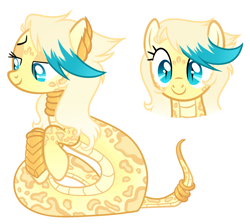 Size: 1836x1644 | Tagged: safe, artist:kannakiller, oc, oc only, oc:sachalla, lamia, original species, pony, snake, snake pony, bedroom eyes, bracer, ear piercing, earring, female, jewelry, mare, markings, neck rings, piercing, ring, simple background, solo, white background
