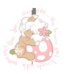 Size: 735x842   Tagged: safe, artist:solnashko, oc, oc only, oc:bloom, oc:blossom, monster pony, original species, piranha plant pony, plant pony, augmented tail, eyes closed, female, flower, flower in hair, plant, simple background, sleeping, transparent background