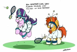 Size: 1024x691 | Tagged: safe, artist:bobthedalek, starlight glimmer, sunburst, pony, unicorn, and that's how luster dawn was made, clothes, eyes on the prize, female, horn, implied shipping, implied starburst, implied straight, jumping, male, mare, open mouth, shipping, shirt, skirt, sports, stallion, starburst, straight, sweat, sweatband, tennis, tennis ball, tennis racket, upskirt, we don't normally wear clothes