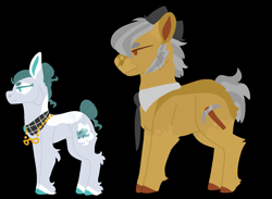 Size: 1500x1100 | Tagged: safe, artist:lepiswerid, cloudy quartz, igneous rock pie, earth pony, black background, clothes, colored hooves, cutie mark, glasses, glasses off, lineless, markings, marsverse, older, pattern, redesign, side view, simple background, tied up mane