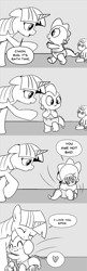 Size: 896x2768 | Tagged: safe, artist:mamatwilightsparkle, smarty pants, spike, twilight sparkle, dragon, pony, unicorn, baby, baby spike, comic, cute, dialogue, diaper, forgiven, heart, hug, looking back, mama twilight, mama twilight sparkle, monochrome, roleplaying, spikabetes, tumblr, younger