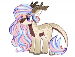 Size: 1280x960 | Tagged: safe, artist:liamruko, oc, oc only, unnamed oc, hybrid, antlers, blushing, colored hooves, eye clipping through hair, female, multicolored hair, simple background, solo, white background