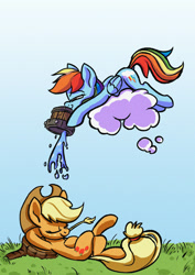 Size: 2481x3507 | Tagged: safe, artist:jimmyjamno1, applejack, rainbow dash, earth pony, pegasus, applejack's hat, bucket, cloud, cowboy hat, crossed legs, duo, female, hat, mare, prank, rainbow douche, sleeping, straw in mouth, this will not end well, tree stump, water