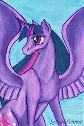 Size: 1280x1925 | Tagged: safe, artist:sparkleforever, twilight sparkle, alicorn, pony, female, mare, signature, smiling, solo, spread wings, traditional art, twilight sparkle (alicorn), wings