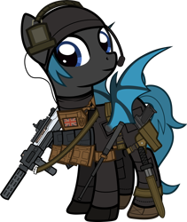 Size: 1920x2271 | Tagged: safe, artist:n0kkun, oc, oc only, oc:starkiller shadow, bat pony, pony, armor, assault rifle, bat pony oc, bat wings, baton, beanie, belt, boots, clothes, commission, female, flag, gloves, gun, handgun, hat, headset, holster, knife, mare, p226, pants, pistol, pouch, rifle, shoes, simple background, solo, spy suit, transparent background, weapon, wings