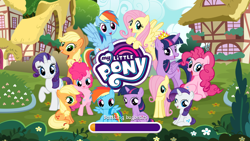 Size: 1920x1080 | Tagged: safe, applejack, fluttershy, pinkie pie, rainbow dash, rarity, twilight sparkle, alicorn, earth pony, pegasus, pony, unicorn, bipedal, female, filly, filly applejack, filly fluttershy, filly pinkie pie, filly rainbow dash, filly rarity, filly twilight sparkle, gameloft, mane six, mare, self ponidox, twilight sparkle (alicorn), unicorn twilight, younger