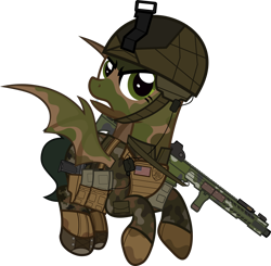Size: 1920x1879 | Tagged: safe, artist:n0kkun, oc, oc only, oc:rapid fire (ice1517), bat pony, pony, american flag, armor, assault rifle, bat pony oc, bat wings, belt, boots, camouflage, clothes, commission, dirt, face paint, female, flag, flying, gloves, gritted teeth, gun, handgun, helmet, holster, mare, mud, pants, pistol, pouch, rifle, shoes, simple background, solo, transparent background, weapon, wings