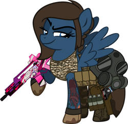 Size: 1920x1876 | Tagged: safe, artist:n0kkun, oc, oc only, oc:smoke jewel, pegasus, pony, assault rifle, belt, boots, camouflage, clothes, commission, dirt, female, g36, gas mask, gloves, grenade, gun, handgun, holster, m1911, mare, mask, midriff, mud, pants, pistol, pouch, raised hoof, rifle, shoes, simple background, smiling, smirk, smug, solo, tanktop, tattoo, transparent background, weapon
