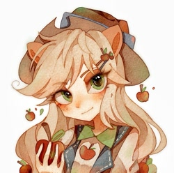 Size: 959x953 | Tagged: safe, artist:白狼狼狼, applejack, equestria girls, apple, bust, cowboy hat, cute, female, food, hat, human coloration, jackabetes, looking at you, part of a set, ponied up, pony ears, simple background, solo, traditional art, watercolor painting, white background