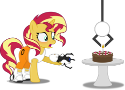 Size: 5031x3636 | Tagged: safe, artist:anime-equestria, sunset shimmer, unicorn, blushing, boots, cake, candle, cherry, chocolate cake, claw, clothes, female, food, horn, jumpsuit, long fall horseshoe, mare, portal, portal (valve), portal 2, portal gun, sad, shoes, simple background, table, the cake is a lie, transparent background, vector