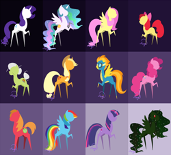 Size: 746x676 | Tagged: safe, artist:lethalauroramage, apple bloom, applejack, big macintosh, fluttershy, granny smith, pinkie pie, princess celestia, rainbow dash, rarity, spitfire, twilight sparkle, oc, oc:trollestia, pony, unicorn, apple family, clothes, pointy ponies, raised hoof, rearing, unicorn twilight, uniform, wonderbolts uniform
