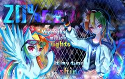 Size: 1710x1080 | Tagged: safe, artist:玥归尘, rainbow dash, human, pegasus, pony, 20% cooler, anime, duality, female, glasses, human ponidox, humanized, looking at you, self ponidox