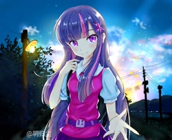 Size: 1439x1167 | Tagged: safe, artist:玥归尘, sci-twi, twilight sparkle, human, anime, anime style, belt, clothes, female, humanized, looking at you, smiling, solo, starry night, streetlight