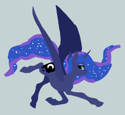 Size: 500x460   Tagged: safe, artist:novuerau, princess luna, alicorn, pony, female, flying, gray background, lineless, mare, realistic horse legs, simple background, solo, spread wings, wings