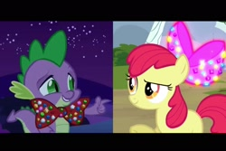 Size: 1536x1024 | Tagged: safe, artist:disneymarvel96, edit, apple bloom, spike, dragon, earth pony, pony, apple bloom's bow, blank flank, bow, bowtie, day, female, filly, hair bow, looking at each other, male, night, pointing, shipping, spikebloom, stars, straight, tree