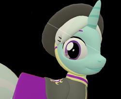 Size: 876x720   Tagged: safe, artist:topsangtheman, cornetta, pony, unicorn, 3d, close-up, clothes, hat, simple background, solo, source filmmaker, transparent background, uniform