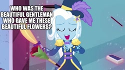 Size: 1280x720 | Tagged: safe, edit, edited screencap, screencap, trixie, equestria girls, street magic with trixie, spoiler:eqg series (season 2), caption, image macro, meme, text, trixie yells at everything