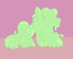 Size: 1446x1176 | Tagged: safe, artist:amynewblue, oc, earth pony, goo, goo pony, original species, female, green, slime, solo