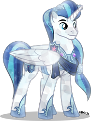 Size: 3009x4000 | Tagged: safe, artist:orin331, shining armor, alicorn, crystal pony, pony, alicornified, armor, clothes, crystal pony armor, crystallized, laurel wreath, male, older, prince, prince shining armor, race swap, simple background, smiling, solo, stallion, transparent background